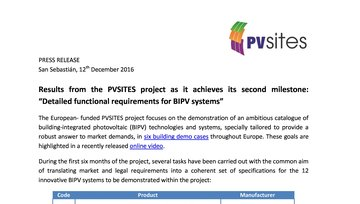"Press release - Milestone #1 achieved: ""Detailed functional requirements for BIPV systems"""