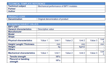 Report: Templates for a technical description of the PVSITES BIPV products portfolio - First version